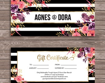 Agnes and Dora Gift Certificate, Personalized printable gift cards, Agnes and Dora Representative Marketing, Watercolor Flowers