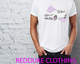 Mens destressed look T Shirt Mercedes A45 Amg Style