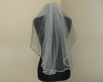 White 1 Tier Rhinestone Beaded Wedding Veil