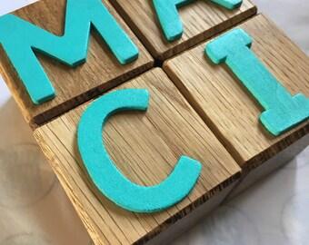 Oak alphabet letter blocks // homemade // personalised // name blocks // alphabet // for toddlers //building blocks // stacking blocks