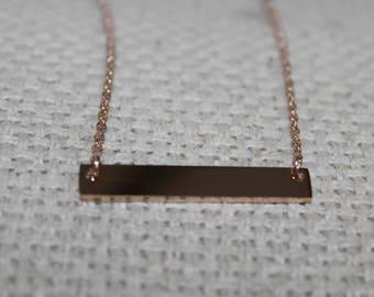 Rose Gold Hand Stamped Bar Necklace