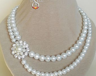 Wedding Necklace, Bridal Necklace, White Pearl Necklace, Wedding Jewelry