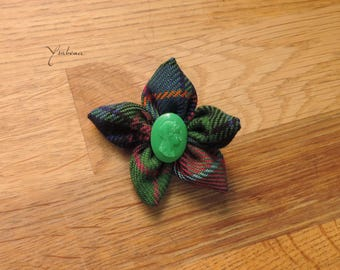 Vintage Green Button Flower Pin