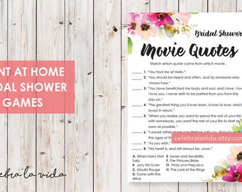 Movie Quotes Bridal Shower Game. Instant Download. Printable Bridal Shower Game. Pink Flowers. Pink - 01