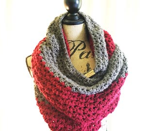 Crochet Two Tone Chunky Infinity Scarf/Cowl