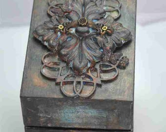 "Mixed media assemblage collage box - ""Flourish"""