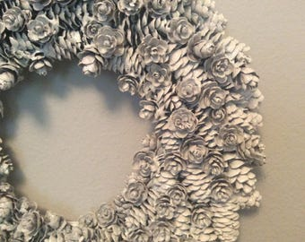 White glitter Pinecone wreath