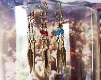 Boho dangle earrings, boho feather earrings, bohemian jewelry, bohememian jewellery, Boho chic, feather dangle, bronze earrings, beaded