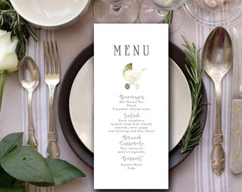 Printable 4x9 Baby Carriage Menu  | Customizable Menu | Baby Shower Menu Card | Baby Carriage Floral Artwork | The Carriage Collection