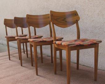 Vintage chair with walnut veneer and Scandinavian plaid upholstery. Set of 4
