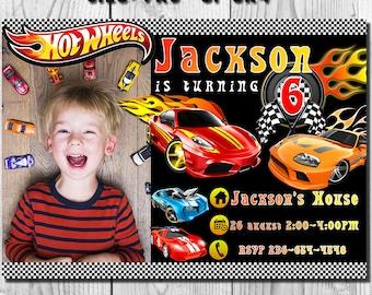 Hot Wheels Invitation, Cars Invitation, Hot Wheels Birthday Invitation, Racing Birthday Invitation, Cars, Hotwheels, Vert