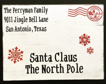 Letter to Santa-wooden sign-christmas decor-rustic-distressed-north pole-santa-handpainted-last name-family name-address