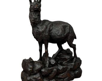great carved wood chamois sculpture 1900