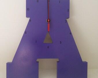 """Wooden Letter """"A"""" Clock   Kids Clock   Wall clock   Nursery Clock"""