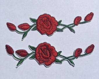 FREE SHIPPING ~ 2 Pieces Red Rose Iron On Patch Craft DIY Sew on Applique