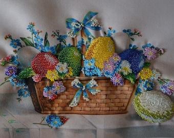 "Handmade Still life Easter basket 7.5"" x 11"""