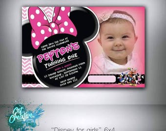 Minnie mouse birthday invitation - digital file supplied