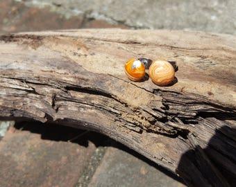 Circular polymer clay brown marble earrings