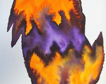 Water Colour Egg Shaped Abstract Vibrant Tangerine Fire with Violet Centre.