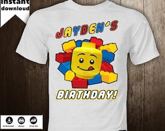 Lego Iron On Image  Blocks T-Shirt Transfer  Birthday Boy Shirt Personalized  Blocks Printables DIY - DIGITAL FILE