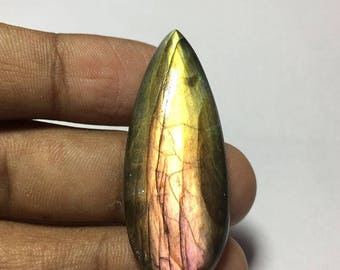 ON SALE Natural  Purple Fire labradorite  cabochon Shape- Pear Size-43x17x7 MM Wt- 38.40  Ct #454