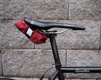 Bicycle Saddle Bag/Tool Roll (Maroon/Peach)
