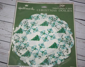 Vintage Christmas Doilies 24 6 inch Trees Holiday