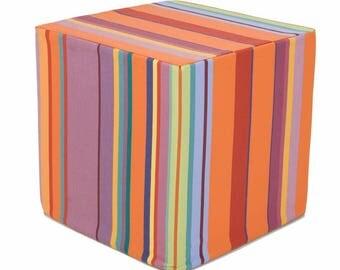 Striped Sunbrella outdoor ottoman cube