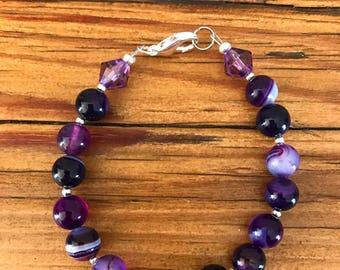 Purple striped Agate beaded bracelet!