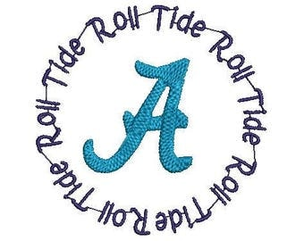 Alabama Roll Tide Circle Machine embroidery design
