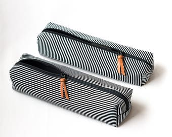 Boxed Pencil Pouch | Striped Pencil Case with Leather Detail | Pouch for Back to School | Finnish Design by Sandramaria