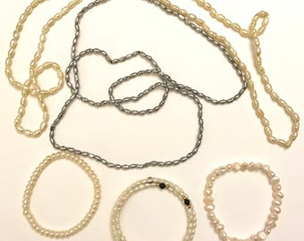 Vintage Lot of Two Freshwater Pearl Necklaces and Three Freshwater Pearl Bracelets Real and Faux