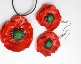 "Earrings and pendant ""Poppy"""