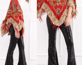 Black Sequin Flare Pants - Bell Bottoms - Wide Leg Pants - Palazzo Pants - Harem Pants - 70s Boho Hippie Women Pants