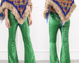 Green Sequin Flare Pants - Bell Bottoms - Wide Leg Pants - Palazzo Pants - Harem Pants - 70s Boho Hippie Women Pants