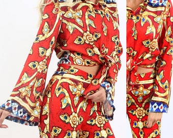 Red '70s Tie Front Satin Button Down Long Flare Sleeve Shirt Top
