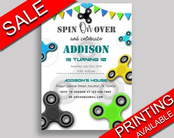 Fidget Spinner Birthday Invitation Fidget Spinner Birthday Party Invitation Fidget Spinner Birthday Party Fidget Spinner Invitation O0177