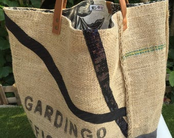Double-sided burlap tote bag
