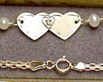 "New 14kt Solid White Gold Winged 10"" Anklet w/DIA Heart -Free Shipping!"