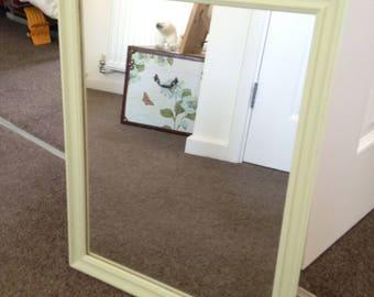 Pastel 'Apple' Green upcycled mirror, 48cm x 38cm.