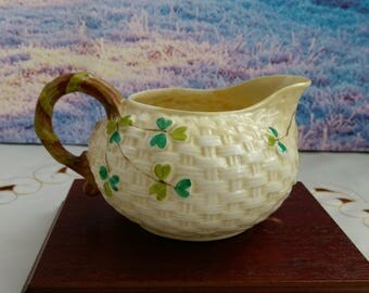 Belleek basket, vintage milk jug, old jug, vintage jug