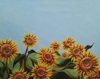 Sunflower Landscape Painting Print