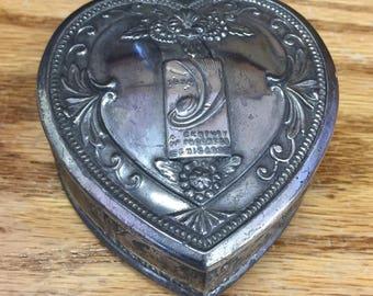 SALE! 1934 World's Fair Chicago Heart Trinket Box