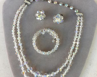 Vintage Aurora Borealis Crystal Necklace, Bracelet and Clip Earrings Set