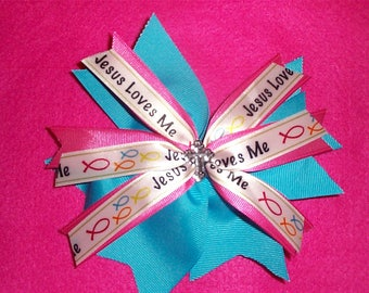 6 inch Jesus Loves Me Pink and Blue Hair Bow