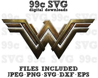 DC Wonder Woman Movie Logo SVG DXF Png Vector Cut File Cricut Design Silhouette Vinyl Decal Disney Party Stencil Template Heat Transfer Iron