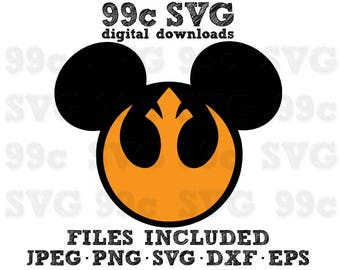 Star Wars Mickey Rebel Aliiance SVG DXF Png Vector Cut File Cricut Design Silhouette Cameo Vinyl Decal Party Stencil Heat Transfer Iron