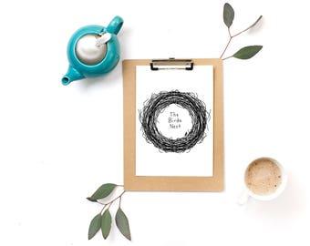 Hand Drawn Premade Logo - One of a Kind OOAK - Cute, Feminine, Bird Nest Design
