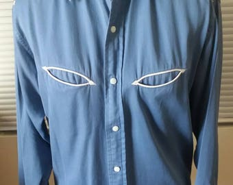 Vintage men's rayon late-50s/early-60s Western shirt