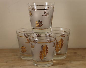 Frosted Old Fashioned Glasses with Gold Leaf Motif - Set of 4